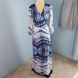 Zaful tie-dye cold shoulder wrap maxi dress B26
